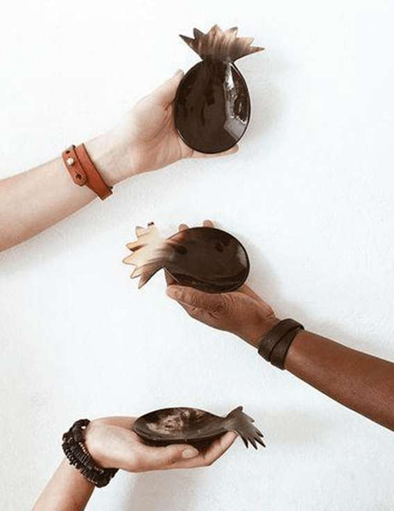 Petite coupelle Ananas en corne d'Haïti