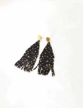 Boucles d'oreille fantaisie soir – Franges perlées noir & or - Annie - Haiti Design Co