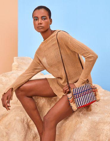 Sac en Raphia et cuir Hana Mini Stripe - Design AAKS Ghana