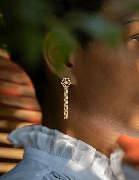 Boucles d'oreille longues - Collection Broderie - La Divini © Christine Picard