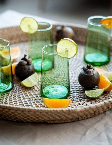 Verre long drink Beldi- recyclé vert Madam Stoltz © Christine Picard