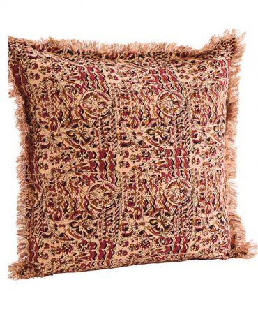 Housse de coussin imprimé indien et franges 50x50 cm