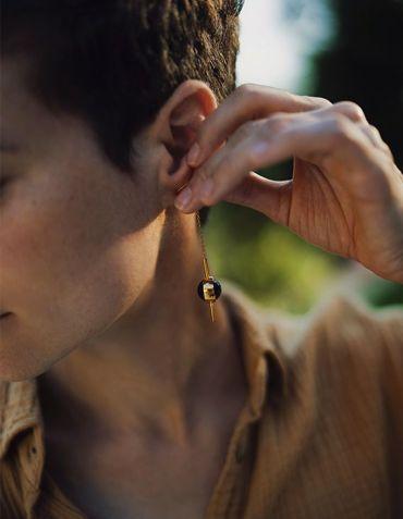 Boucles d'oreille Solstice I - Indra Eudaric - Agate mousse © Cécile Chabert
