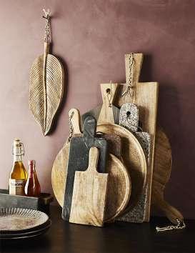 Plat feuille de bananier en bois de mangue 38 cm