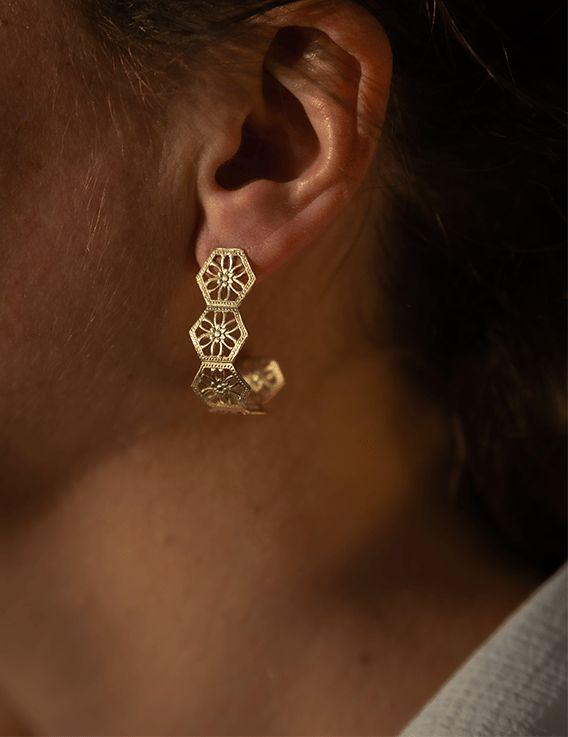 Boucles d'oreille Créoles - Collection Broderie - La Divini © Christine Picard